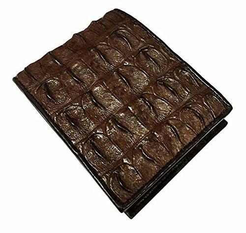 Oscuro Y Auténtica De Pliegue Brillante Los Hombres Marrón Doble De Backbone Billetera De Piel Cocodrilo Grande 8wFSnqnx4
