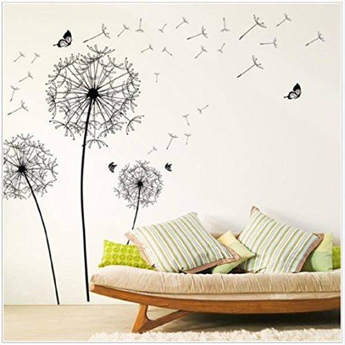 Vovotrade Diy Home Decor New Design Grand Noir Pissenlit Autocollant Mural Art Stickers PVC Décoration murale
