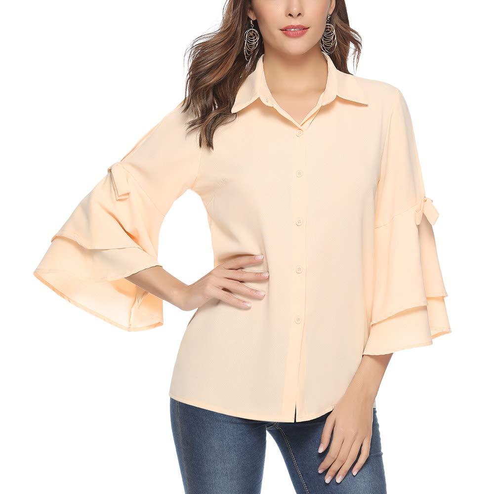 Aibrou Camicie Donna di Chiffon con Scollo a V Maniche a 3 4 Camicetta  Elegante Blusa Casual con Bottone b0da97244ec
