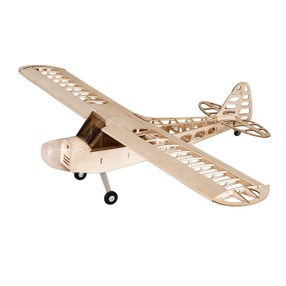 J6Mall Dancing Wings Hobby S0801 Balsa Wood RC Airplane 1.2M Piper Cub J-3 Remote Control Aircraft KIT Version DIY Flying Model Wood Color CN - by J6Mall