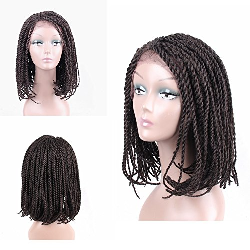 Braided Wigs Bob Style for Black Women Glueless Senegalese Twist Braided Lace Bob Wigs with Baby Hair for Daily Wear Half Hand Tied 16inches #4 ()