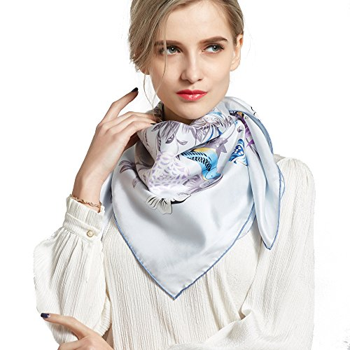 Silk Scarf Luxurious Square Scarf-Pantonight 100% Pure Silk 14MM Hand Rolling Edge Silk Twill Sc ...
