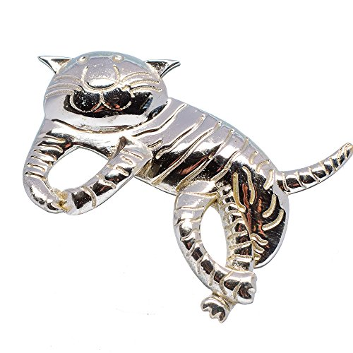 "Engraved Cat Pendants 1 5/8"" (925 Sterling Silver) - Handmade Jewelry PD633281 from Ana Silver"