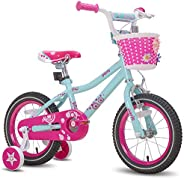 """JOYSTAR Paris Girl's Bike for Ages 3-9 Years Old, Children Bike with Training Wheels for 12"""" 14"""""""