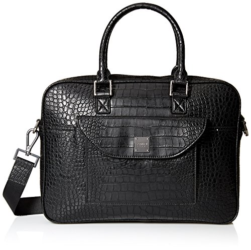 Armani Jeans Men's Croco Embossed Briefcase with Laptop Compartment