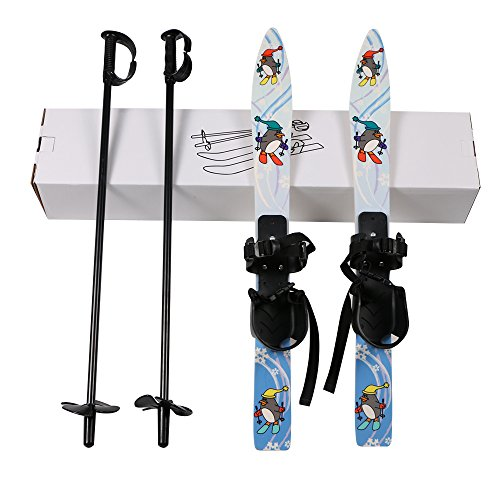 IRQ Kids Beginner Ski Boards and Poles, Skis Snowblades with Bindings and Sticks Children