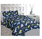 Golden Linens 4 Pieces Full Size Printed Modern Designs Kids Sheets Bed Cover with Pillow Cases (DINOSAUR)