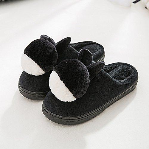 LaxBa Mesdames Accueil Parole de chaussons moelleux agréable Cotton-Padded Semelle noir Chaussures