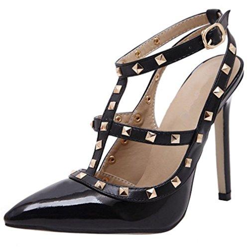 YE Damen Lack Slingback High Heels T Strap Spitze Pumps mit Riemchem und Stiletto Nieten Elegant Schuhe Schwarz
