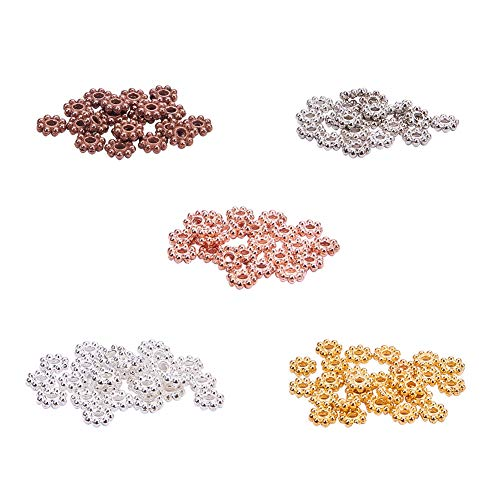 PH PandaHall 500pcs 5 Color Tibetan Alloy Flower Spacer Beads Daisy Metal Spacers for Bracelet Necklace Jewelry Making