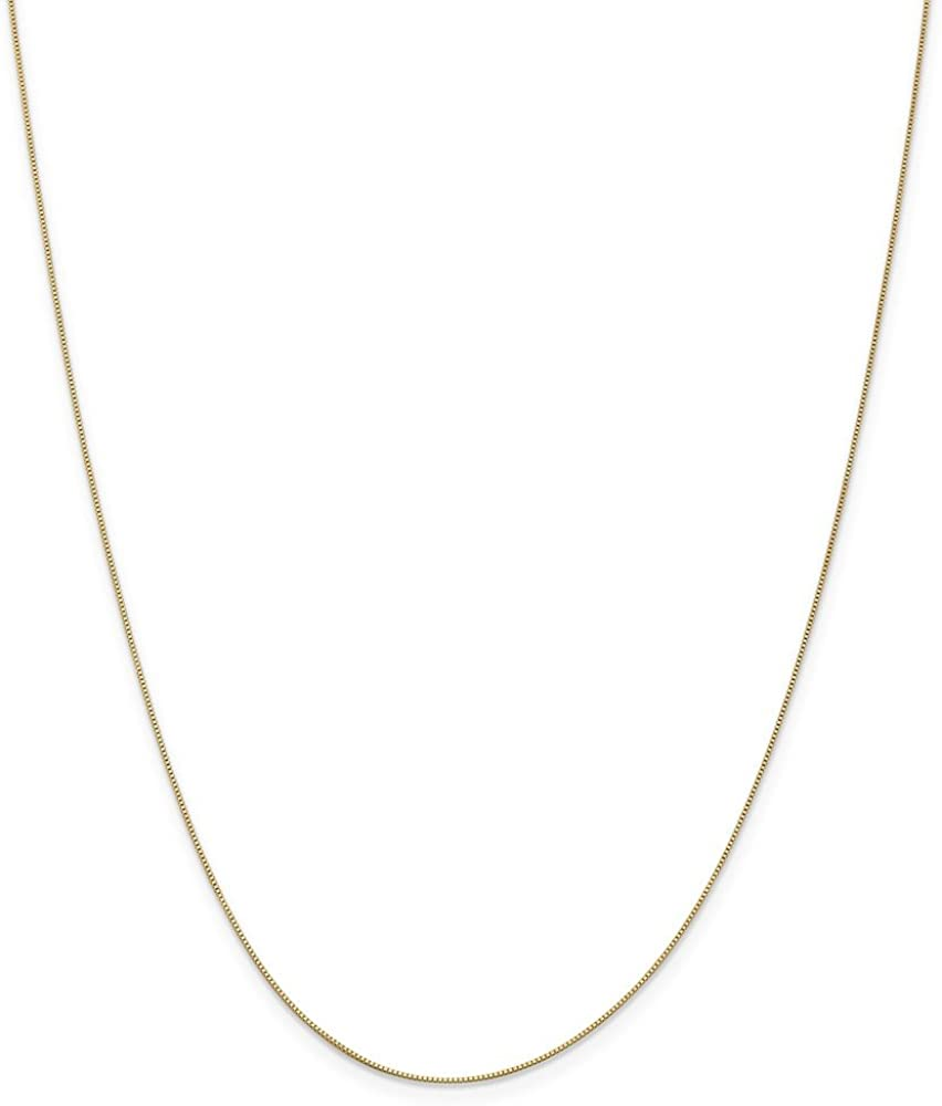 14k Yellow Gold 0.5mm Box Chain Necklace 1.12g