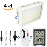 Cheap [2018] One Day Sale !!! Premium Kit of 600W Led Grow Light + Indoor Humidity Monitor + Adjustable Grow Light Rope Hanger + Grounded Mechanical Timer | The Perfect Kit for Your Grow Tent