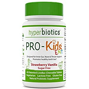 PRO-Kids ENT: Children's Oral Probiotics (Chewable & Sugar Free) - Uniquely Formulated for your Child's Oral & Ear Nose and Throat Health (Strawberry Vanilla) - 45 Chewable Probiotic Tablets