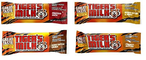 Tigers Milk Nutrition Bar Variety Pack: Including Protein Rich, Peanut Butter, Peanut Butter Crunch & Peanut Butter & Honey (Pack of 24)