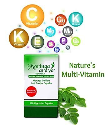 Natural Multivitamin Capsules, Moringa Superfood Supplement for Blood Pressure, Lower Cholesterol, Blood Sugar Solution, Thyroid Support, Lactation, 120 Count 310 Mg Green Leaf Powder- VEGAN, KOSHER