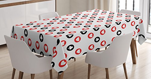 Lunarable Casino Tablecloth, Spotted Pattern Playing Card Symbols Blackjack Gaming Ornaments Vintage Style, Dining Room Kitchen Rectangular Table Cover, 52 W X 70 L inches, Black White Red