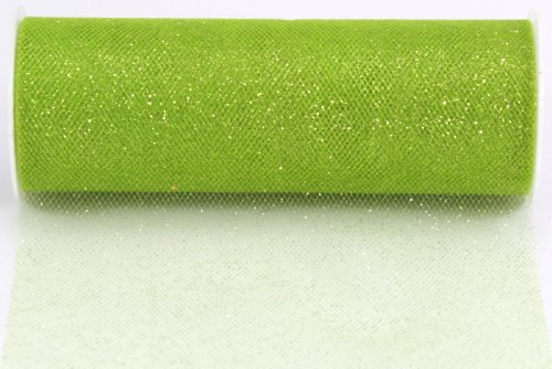 Kel-Toy Glitter Tulle Fabric, 6-Inch by 10-Yard, Apple Green