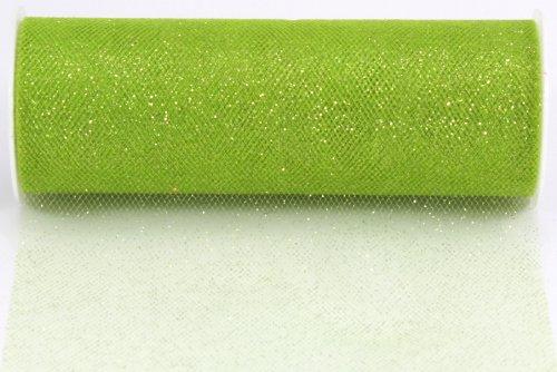 Kel-Toy Glitter Tulle Fabric, 6-Inch by 25-Yard, Apple Green