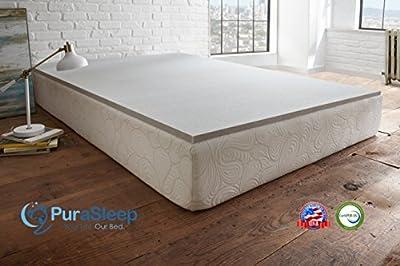 "PuraSleep 1"" Carbon Comfort Memory Foam Mattress Topper – Made In The USA – 3-Year Warranty"
