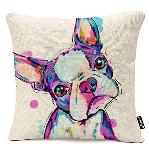 oFloral Animal Cushion Cover Boston Terrier Dog Decorative Cushion Covers Bulldog Throw Pillow Car Chair Home Decor Pillow Case for Sofa 18x18 Inches