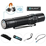 Bundle:Olight M2R neutral white tactical flashlight cree 1500 lumen with 10A HDC 3500mAh18650 Rechargeable batteries,usb magnetic cable,Holster and patch