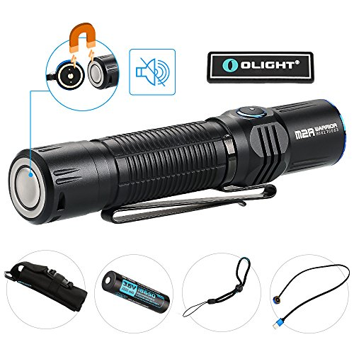 OLIGHT Bundle M2R Tactical Flashlight CREE LED 1500 Lumen Most Powerful Pocket Friendly Hunting Light Powered by 10a hdc 3500mAh 18650 Battery with USB Magnetic Cable Patch
