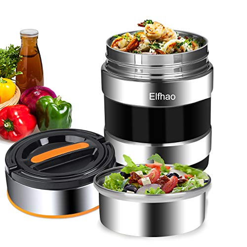 Thermal Insulation lunch Box Stainless Steel Vacuum Insulated Carrier Bento Box Travel Hiking Camping Picnics Food Jar Capacity 1.4L (2 Layers?) Black (Food Hot Container Thermal For)