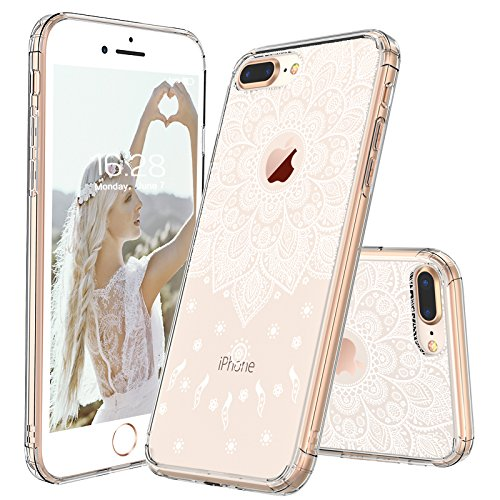 iPhone 8 Plus Case, iPhone 8 Plus Cover, MOSNOVO White Peace Mandala Floral Lace Clear Design Printed Plastic with TPU Bumper Protective Case Cover for iPhone 8 Plus (2017)