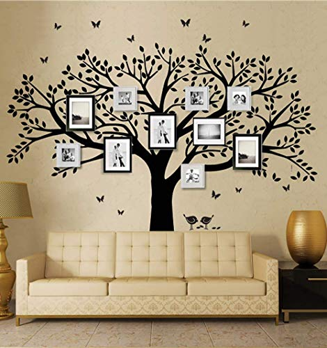 ANBER Family Tree Wall Decal Butterflies and Birds Wall Decal Vinyl Wall Art Photo Frame Tree Stickers Living Room Home Decor Wall Sticker (Black) - Family Tree Wallpaper