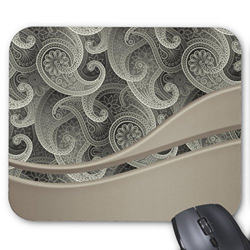 UOOPOO Platinum Paisley Timeless Pattern Monogrammed Mouse Pad Rectangle Non-Slip Rubber Personalized Mousepad Gaming Mouse Pads 8.2 x 10.2 x 0.12 Inch(Pattern: -