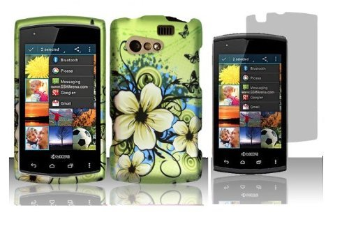 Hawaiian Flower Protector Hard Shell Faceplate Cover Phone Case + Screen Protector for Kyocera Rise C5155 ()