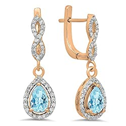 Aquamarine Pear Gemstone & Round White Diamond Teardrop Earrings
