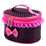 Cloudro Cosmetic Makeup Storage,Large Portable Zipper Travel Makeup Cosmetic Bag Organizer Holder Top Handle-Dot Print with Bow Lace Decor (Black)