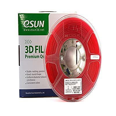 eSUN 3D 1.75mm PETG Magenta Filament 1kg (2.2lb), PETG 3D Printer Filament, Semi-Transparent 1.75mm Magenta