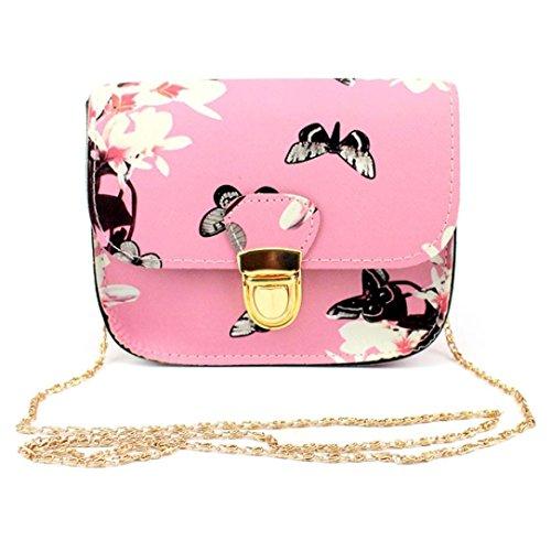 Rakkiss Womens Bag, Women Butterfly Flower Printing Handbag Shoulder Bag Tote Messenger Bag (Pink) (Bags Miu Designer Miu)