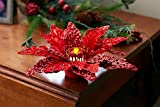 Diva At Home Set of 6 Red Glittered Christmas Poinsettia Votive Candle Holder 12""