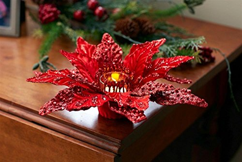 "Diva At Home Set of 6 Red Glittered Christmas Poinsettia Votive Candle Holder 12"" by Diva At Home"