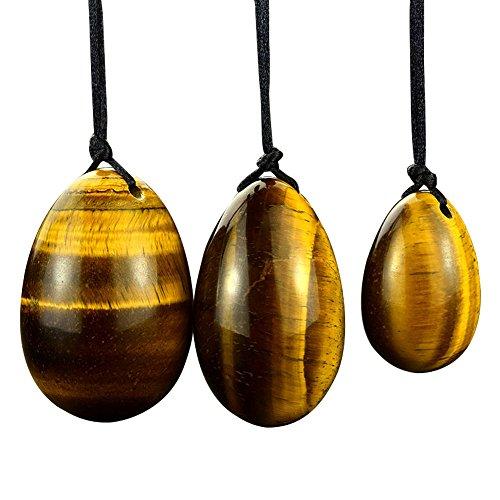 Pierre d'oeil tigre Jade Egg Yoni Egg Massage Stone 3PCS Natural Egg Eggs Ben Wa Ball Cure de guérison pour entraîner les muscles pelviens Kegel Exercise (HYS07)