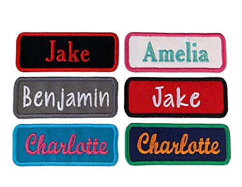 Name Patch Personalized Tag - For Backpacks, Uniforms, Jackets And More - Choose Your Background Fabric, Thread Colors And Font - Iron On Or Sew On (1 Patch)