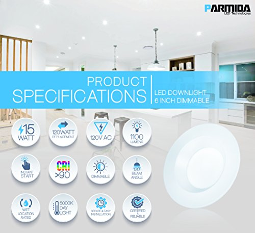Parmida (4 Pack) 5/6 inch Dimmable LED Retrofit Recessed Downlight, 15W (120W Replacement), Smooth Metal Design, 1100lm, 5000K (Day Light), Energy Star & ETL, LED Ceiling Can Light, LED Trim by Parmida LED Technologies (Image #2)