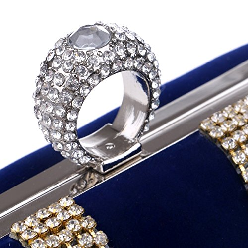Color evening Bag Fashion Diamond Banquet Fly Blue Red Hand shaped worn Bag bag U Evening Women's Bag Evening encrusted qXtxXwgHa6