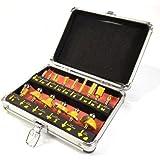 "ROUTER BIT SET - 15 piece 1/4"" inch Shank CARBIDE TIP Deluxe Aluminum Case New"