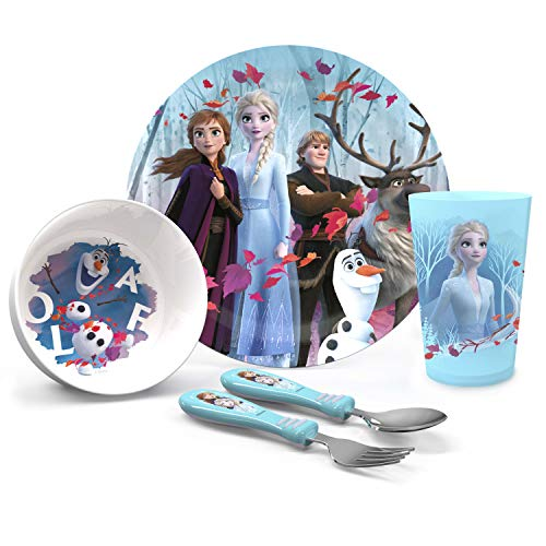 Zak Designs Disney Frozen 2 Movie Kids Dinnerware Set Includes Plate, Bowl, Tumbler and Utensil Tableware, Made of Durable Material and Perfect for Kids (Elsa & Anna, 5 Piece Set, BPA-Free)