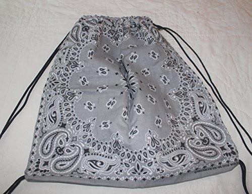 Bandana Drawstring Backpack made with actual Bandanas. Silver Grey.