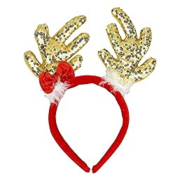 Christmas Headband With Sequins Antler Ears