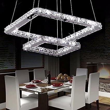 Diametro: 16 * 8 pollici Lampadario moderno di lusso LED di LOCO Dimmerabile Con telecomando placcatura moderna quadrata in acciaio inox Lampada da soffitto moderna casa