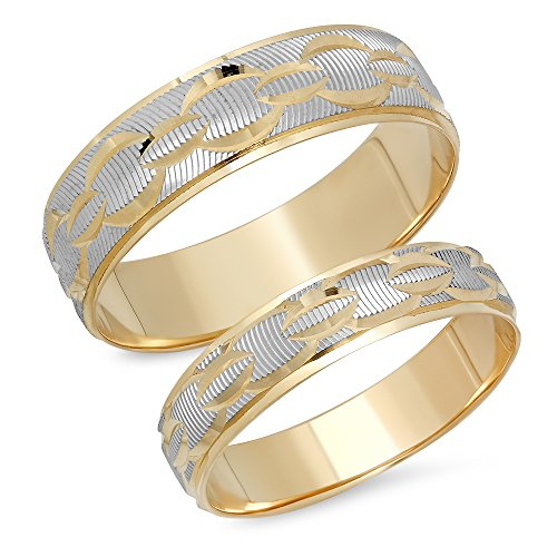 (14K Solid White and Yellow Two Tone Gold His & Her's Matching Chain Link Design Wedding Band Ring Set (Choose a Size) )