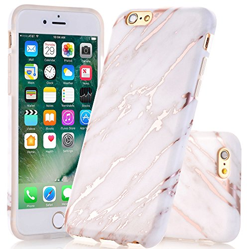 iPhone 6 Plus / 6s Plus Case, White Rose Gold Marble Pattern Case JDBRUIAN Slim Fit Flexible Soft TPU Bumper Shockproof Rubber Silicone Skin Cover for iPhone 6 Plus & 6s Plus - (Iphone Silicone Rubber Skin Cover)