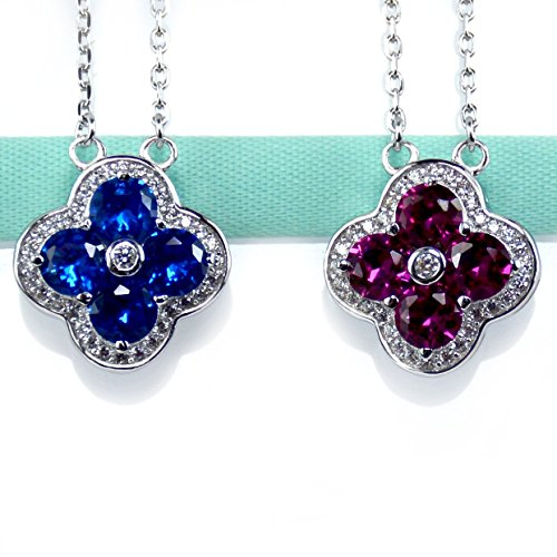 Double Sided Blue Red Luck Clover Necklace, Sterling Silver