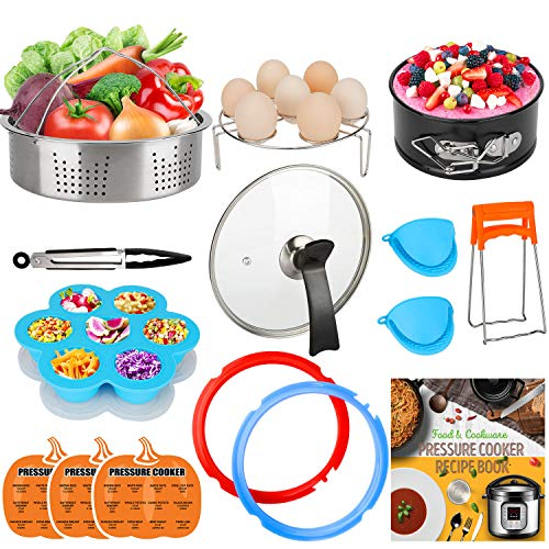 3 Mini Pot - 3-Quart-Accessories-Set with Tempered Glass Lid Sealing Rings Compatible with Instant Pot Mini 3, Including Steamer Basket Springform Pan Egg Rack Trivet Works with 3 Qt Instapot, Cookbook, Cover